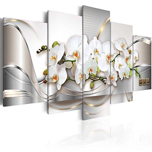 murando Cuadro en Lienzo Orquidea 200x100 cm Impresión de 5 Piezas Material Tejido no Tejido Impresión Artística Imagen Gráfica Decoracion de Pared Naturaleza Abstracto Flores a-A-0004-b-n