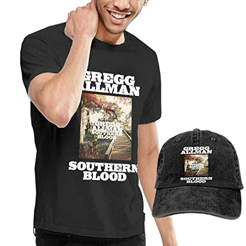 Thimd Camiseta de Manga Corta para Hombre,Gorra de béisbol Combinación Negro Gregg Allman Southern Blood Tshirts and Washed Denim Baseball Dad Caps Black