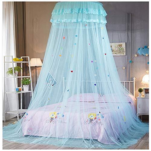 Mosquitera Princesa Decoración La Cama Protección Contra Insectos para Niños Mosquitera Dosel Colgante Redondo para Camas Individuales Y Dobles(Altura :2.7M) Azul