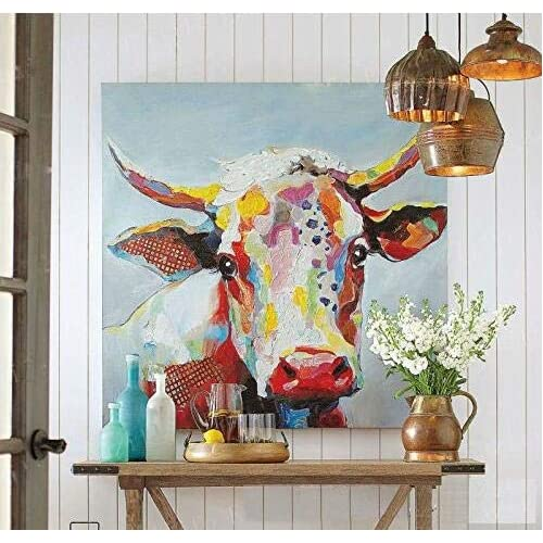 969767d2bc4 Handmade Colorful Cow Art Animals Pictures Graffiti Texture Palette Knife  3D Oil Paintings Canvas Wall Art for Bedroom Living room Wall Decor  Contemporary ...