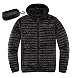 Men's Lightweight Quilted Ultra Loft Packable Puffer Hooded Jacket Synthetic Insulated Jackets Black 2X-Large