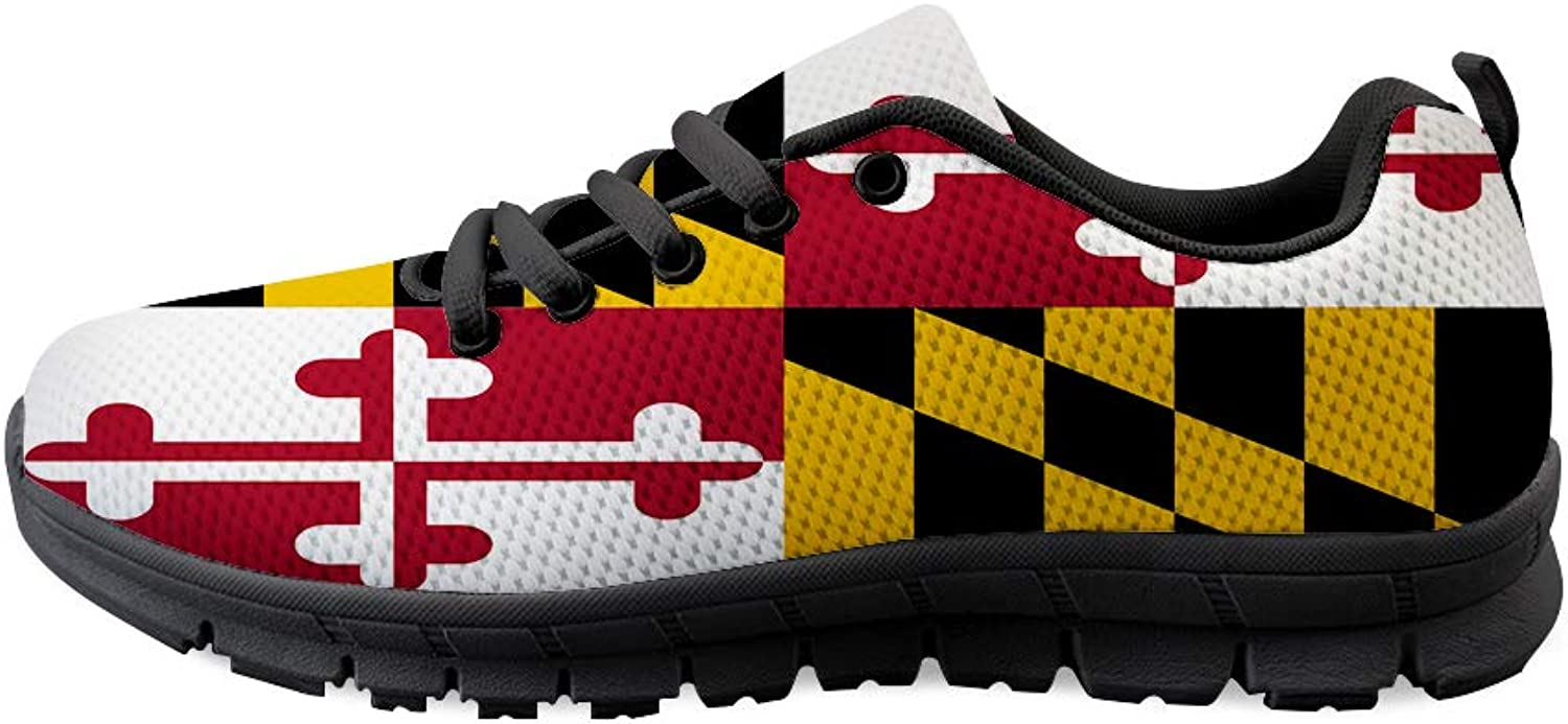 Owaheson Lace-up Sneaker Training shoes Mens Womens Maryland Flag
