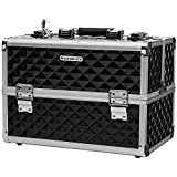 SONGMICS 13.5 Inch Makeup Train Case Professional Cosmetic Box with Adjustable Dividers 4 Trays and 2 Locks Black UMUC12C