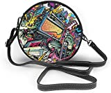 Bolso redondo mujer Women Soft Leather Zipper Round Shoulder Bags - Anime Art Painting Sling Bag
