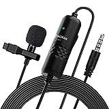 Moman Lavalier Mikrofon, Ansteckmikrofon Omnidirektional Clip-on Microphone, Kragenmikrofon mit...