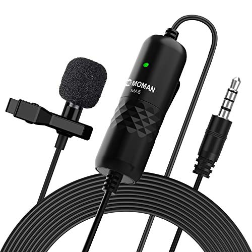 Moman Lavalier Mikrofon, Ansteckmikrofon Omnidirektional Clip-on Microphone, Kragenmikrofon mit Windschutz, 3.5mm TRS/TRRS, 6M für Smartphone Handy iPhone Huawei Samsung, PC Laptop, Kamera DSLR MA6