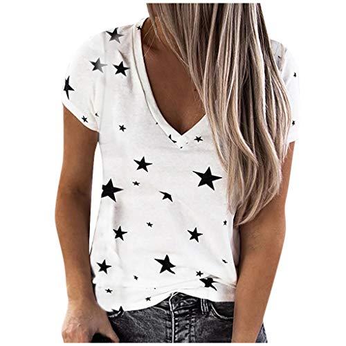 MOTOCO Sommeroberteile für Frauen Gedruckt Tops Lässige Kurzarm V-Ausschnitt T-Shirt Blusen(L.Weiß)