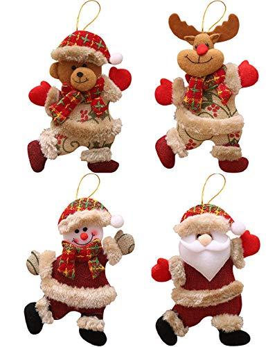 Yuson Girl Weihnachtswichtel Deco Weihnachtsbaum Schmuck Christbaum-Anhänger Flanell Christbaumschmuck Anhänger Weihnachtselch, Schneemann, Nikolaus, Weihnachtsbär(18 * 13cm)