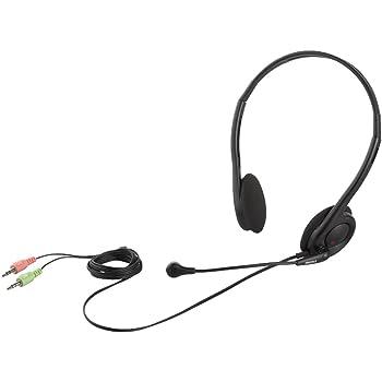 iBUFFALO 両耳ヘッドバンド式ヘッドセット ブラック BSHSH14BK