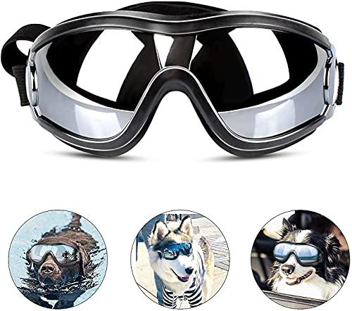 Occhiali da sole per cani, occhiali da sole per cani, protezione dai raggi UV, anti-polvere, anti-nebbia, protezione da nebbia, protezione dagli occhiali, con cinghia regolabile per cani di taglia