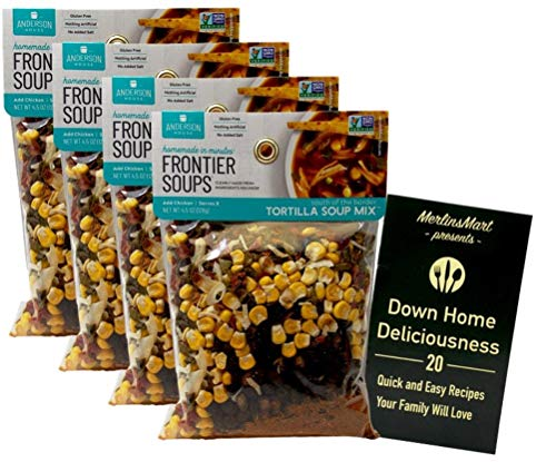 Frontier Soups Gluten Free Natural Soup Mix | South of the Border Tortilla (4.5 Ounces) | Pack of 4 Plus Recipe Booklet Bundle
