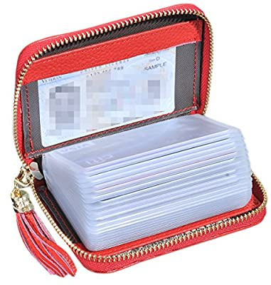 Easyoulife Genuine Leather Credit Card Holder Wallet Zipper Wallet With Tassel