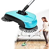 Bhajan New Design Stainless Steel and ABS Plastic Auto Spin Hand Push Sweeper Floor Cleaning Mop Broom 360 Rotary Dustpan Household Tools
