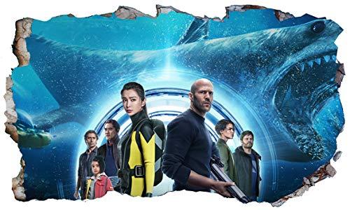 Chicbanners die Meg Megalodon Shark 3D Magic Fenster V108Wandtattoo Selbstklebende Poster Wall Art Größe 1000mm breit x 600mm tief (groß)