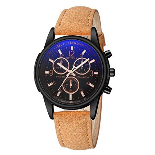 Longra★ Relojes Análogos del Cuarzo del Vidrio Azul del Rayo del Azul de la Moda de Alta Calidad para Hombre
