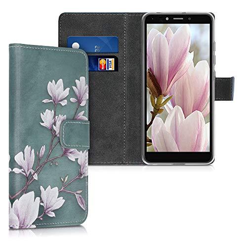 kwmobile Wallet Hülle kompatibel mit LG K20 (2019) - Hülle Kunstleder mit Kartenfächern Stand Magnolien Taupe Weiß Blaugrau