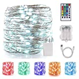LED String Lights Indoor Fairy Lights Multi Color Changing, Waterproof Firefly Lights with Remote Control for Indoor, Bedroom, Wedding, Outdoor Christmas Decor (40 ft 120 LEDs USB & Battery Powered)