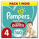 Couches Culottes Pampers Taille 4 (9-15 kg) - Baby Dry Nappy Pants, 160 culottes, Pack 1 Mois