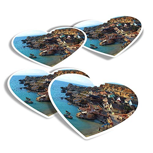 Vinyl Heart Stickers (Set of 4) - Anchor Bay Malta Fun Decals for Laptops,Tablets,Luggage,Scrap Booking,Fridges #8997