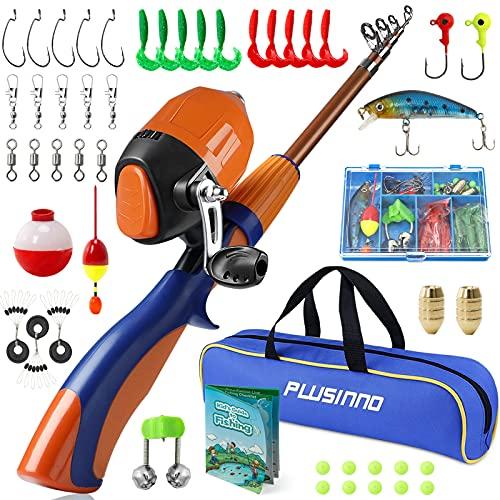 PLUSINNO Kids Fishing Pole,Portable Telescopic Fishing...
