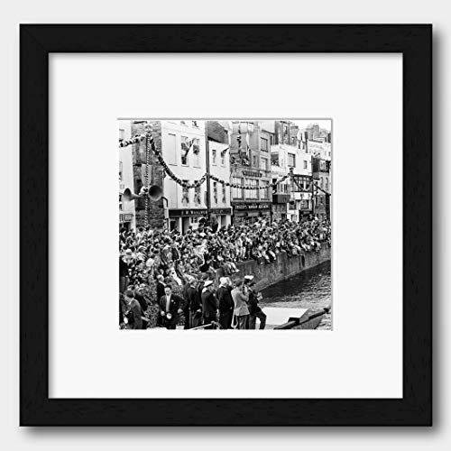 Crowds Greeting Queen Elizabeth II in Guernsey England 1957 Print Black Frame White 40 x 40