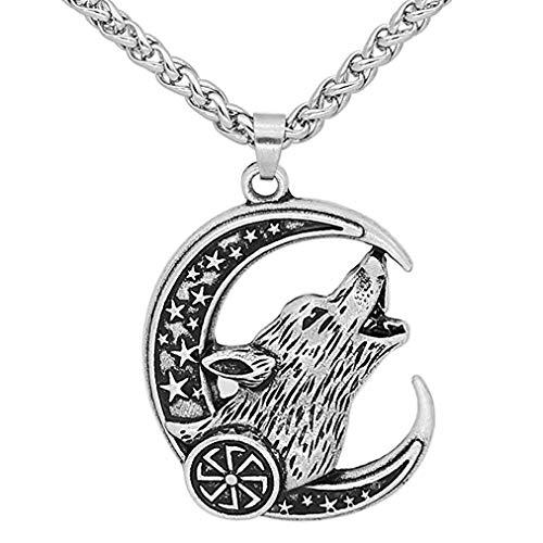 HLARK Viking Necklace Nordic Celtic Amulet Wolf Odin Pagan Vegvisir Pendant Necklace