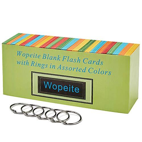 Wopeite Tarjetas Flash con Anillo Tarjetas en Blanco Fichas Estudio y Revisión Colores 1000 Piezas