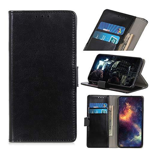TOPOFU Handyhülle für Sony Xperia Pro Hülle, Premium PU Lederhülle Crystal Simple Style Schutzhülle mit Magnetisch und Kartenschlitz,Klapphülle Handytasche Flip Hülle Cover-Schwarz