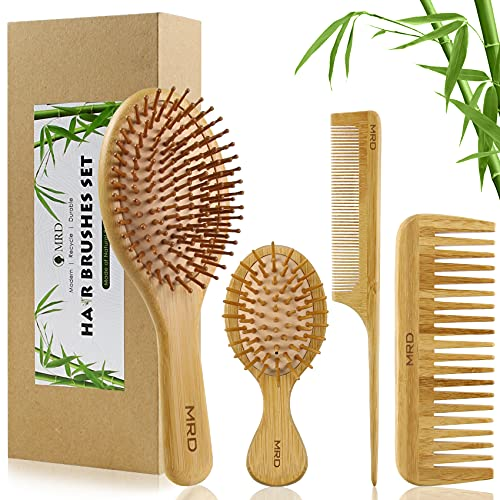 MRD Bamboo Hair Brush and Comb Set with Paddle Detangling Brushes...