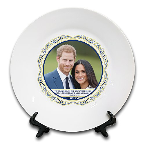 Royal Wedding of HRH Prince Harry & Meghan Markle Commemorative Novelty Gift Ceramic Plate & Stand
