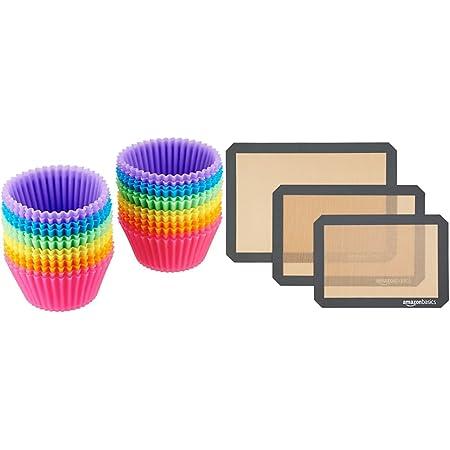 Amazon Basics Paquet de 24 Moules de Cuisson Réutilisables en Silicone & Lot de 3tapis de cuisson en silicone
