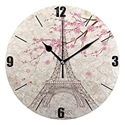 Akalidebaih Pairs Eiffel Tower Sakura Wall Clock Silent Non-Ticking Round Clock Art Painting Home Office School Decor-9 inch,no Frame,Wall Mount and Table top