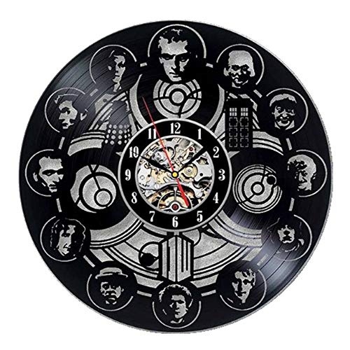 wtnhz LED-Doctor's House Vinyl Record Clock Creative Art Modeling Wall Clock Home Decoration Clock D