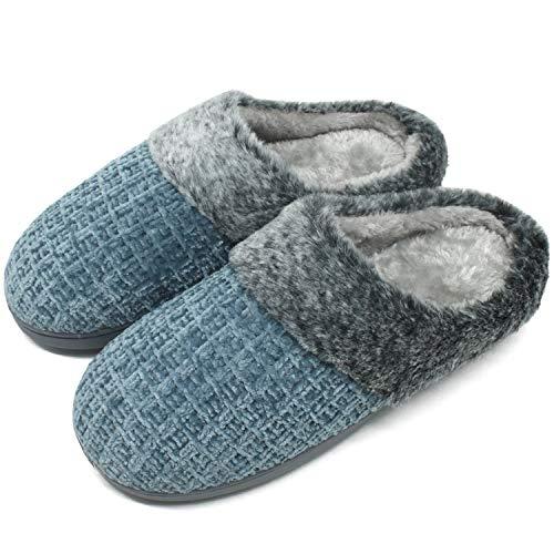jiajiale Damen Winter Hausschuhe kuschelige Memory Foam Plüsch Warme Pantoffeln Chenille Hause rutschfest Schuhe Indoor&Door Blau EU38/39
