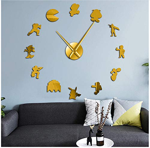 Yzdwzs Modern Mute Retro Video Game Characters DIY Wall Art Stickers Reloj de Pared Grande Geeky Nerdy Game Room Decor Reloj de Pared Reloj Gamer Gift (Oro)