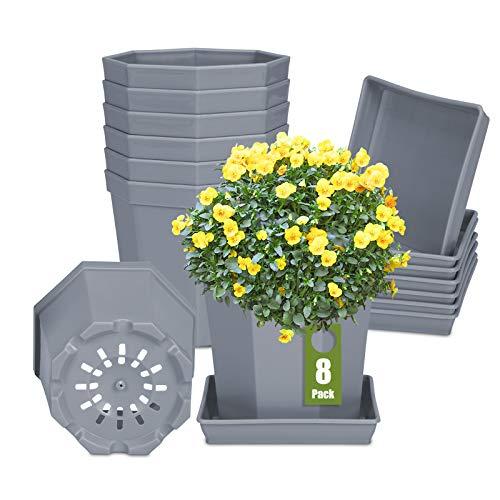 8Pcs 10cm Macetas de Plástico para Plantas Macetas de Inicio de Semillas Livianas Macetas de Vivero Macetas Contenedor de Plantas de Flores(Gris)