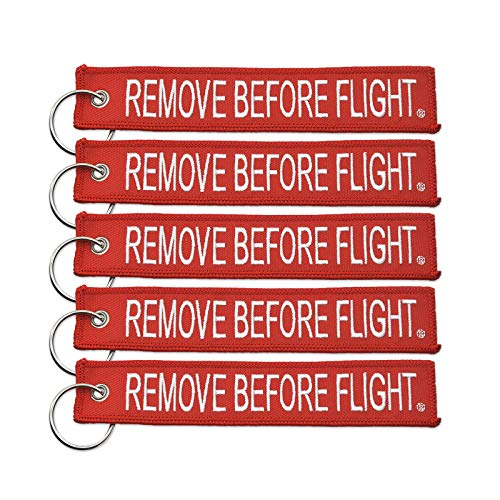 Apex Imports 5X Remove Before Flight Red Key Chain (5 Pack)