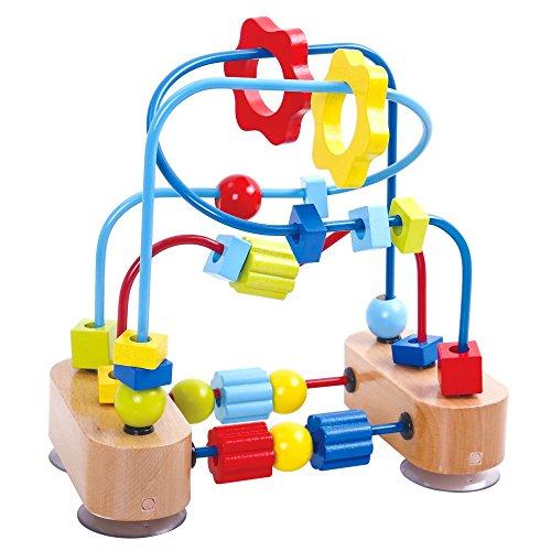 Tooky Toy Kleine Motorikschleife mit bunten Holz-Elementen und farbigen Schleifen - 3 lange und 2 kurze Schleifen - ca. 21,5 x 20,5 x 13 cm Geeignet ab 36 Monaten