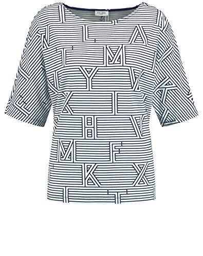 Gerry Weber Damen 1/2 Arm Shirt mit Mustermix figurumspielend Blau/Ecru/Weiss Druck 46