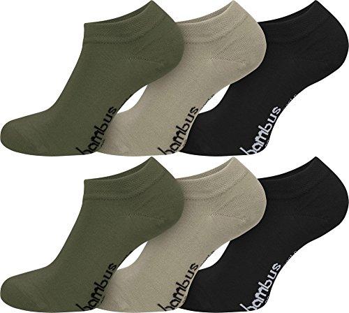 normani 6 Paar Bambus-Sneakers mit Piquebündchen Farbe Dunkelkhaki/Khaki/Schwarz Größe 43-46