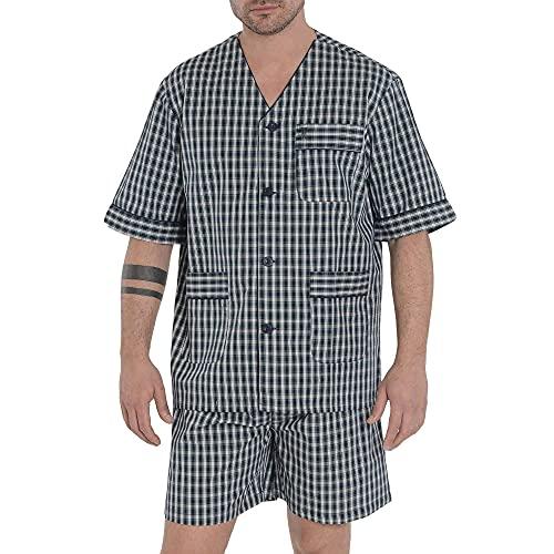 El Búho Nocturno - Pijama Hombre Corto Judo Popelín Cuadros Marino 100% algodón Talla 4 (L)