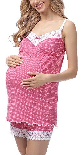 Be Mammy Pijama Premamá Corto Embarazo Lactancia BE20-143 (Rosa, M)