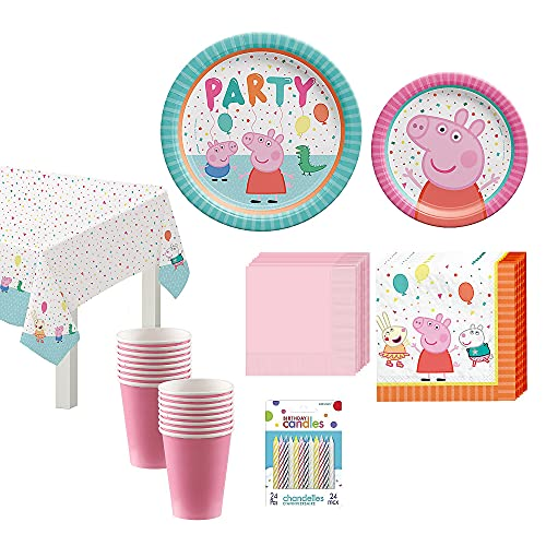 Party City Peppa Pig Confetti 90 Piece Kids Birthday Party Supplies for 16 Guests, Includes Plates, Napkins, Cups, Candles; Decorations