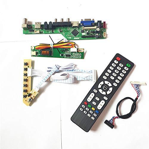 Para LP141WX3-TLN4/TLP1 mando a distancia+inversor+teclado LCD panel de pantalla 1CCFL 30Pin LVDS T.V53 tablero controlador VGA HDMI AV USB RF Kit (LP141WX3-TLN4)