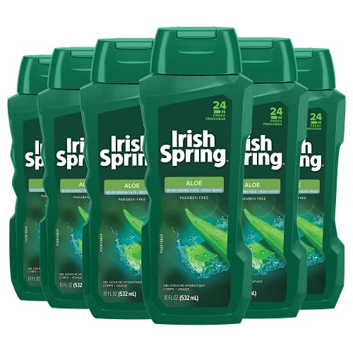 Irish Spring Men's Body Wash Shower Gel, Aloe Vera - 18 fluid ounce (6 Pack)
