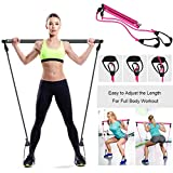 Persunhome Portable Pilates Exercise Stick Bar Kit with Resistance Band, Workout Equipment Resistance Toning Bar Home Gym Yoga Pilates with Foot Loop for Total Body Workout
