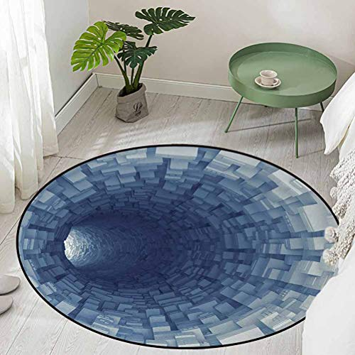 Round Floor Mat for Toilet Non Slip Endless Tunnel with Fractal Square Shaped Segment Digital Dimension Artwork Print Diameter 60 inch Large Area Rugs
