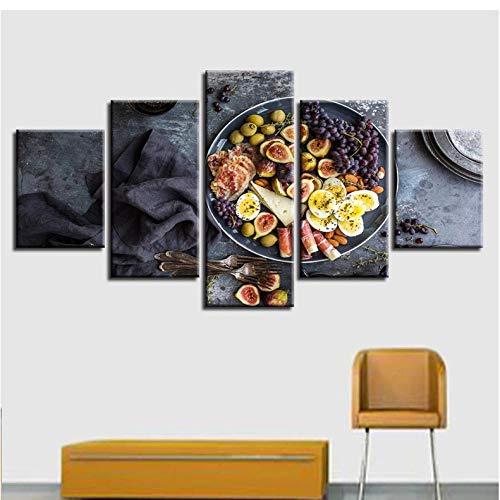 Wuyii Canvas Moderne afbeeldingen muurkunst decoratie thuis voor de woonkamer 5 stuks vork druiven levensmiddelen schilderij afdrukken modulaire poster 30x40cmx2/30x60cmx2/30x80cmx1