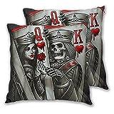 PATINISA 2pcs Fundas de Cojín,Cartas Rey Reina Tatuaje Poker Q Y K,Cuadrado Suave Funda de Almohada Decorativa Sofá Sillas Cama Decoración para Hogar,45x45cm