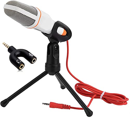 Com-Tech Professional Condenser Microphone With Noise Cancellation Aux 3.5mm Jack With Stand And Clip With 2m Cable F...